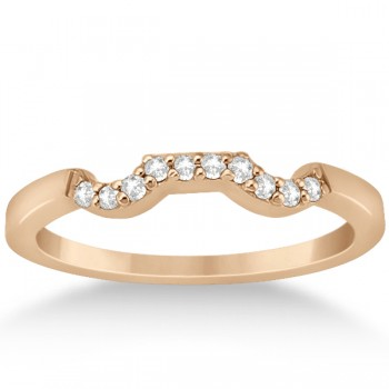 Modern Contour Diamond Wedding Band for Women 14k Rose Gold (0.10ct) Make her feel special with this modern diamond wedding band.This contoured wedding band is beautifully crafted in a marvelous 14k rose gold (pink gold) and features a total of ten diamonds of G-H color and VS2-SI1 clarity. The total weight of the diamonds is 0.10cts.Each brilliant cut diamond on the engagement ring is pave set in a contour style on the wedding band.Coordinate this wedding band with our matching modern cluster engagement ring, which is sold separately.