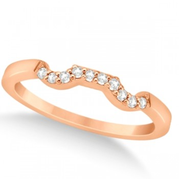 Modern Contour Diamond Wedding Band for Women 18k Rose Gold (0.10ct) Make her feel special with this 0.10ct modern style diamond wedding band.This contoured wedding band is alluringly crafted in 18k rose gold (pink gold) and features a total of 10 diamonds of G-H color and VS2-SI1 clarity.Each diamond on this contour wedding band is pave set in a contour style on the wedding band.Match this contour wedding band with our modern cluster engagement ring, which is sold separately.This attractive diamond wedding band, like all of the fine jewelry at Allurez, is made in the USA.