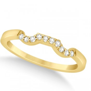 Modern Contour Diamond Wedding Band for Women 18k Yellow Gold (0.10ct) Make her feel special with this 0.10ct modern style diamond wedding band.This contoured wedding band is beautifully crafted in 18k yellow gold and features a total of 10 diamonds of G-H color and VS2-SI1 clarity.Each brilliant cut round diamond on the engagement ring is pave set in a contour style on the wedding band.Match this modern contour wedding band with our coordinating modern cluster engagement ring, which is sold separately.This lovely diamond contour wedding band, like all of the fine jewelry at Allurez, is made in the USA.