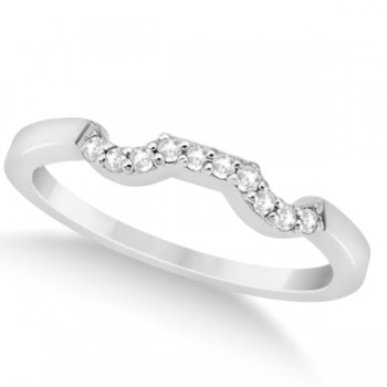 Modern Contoured Diamond Wedding Band for Women Platinum (0.10ct) This exquisite 0.10ct modern style designer diamond wedding band is crafted in a beautiful platinum setting. It fashionably features a total of 10 diamonds of G-H color and VS2-SI1 clarity.Each brilliant cut diamond on this curved wedding band is pave set in a curved style on the wedding band.Coordinate this contour band with our diamond cluster engagement ring, which is sold separately.