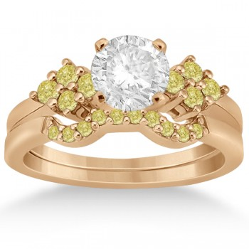 Yellow Diamond Engagement Ring & Wedding Band 14k Rose Gold (0.34ct) Surprise her with this brilliant fancy colored diamond cluster engagement ring with matching contour style wedding band bridal set.8 yellow diamonds are pave set in a cluster style on each side of the center stone on a 14k white gold setting. 10 beautiful yellow diamonds are pave set on the matching contour wedding band.Each diamond is of VS2-SI1 clarity. Design your own engagement ring by choosing a center stone from our large selection of conflict-free diamonds.This 0.34ct 14k rose gold (pink gold) modern floral engagement ring and contour wedding band bridal set is also available in other precious metals.