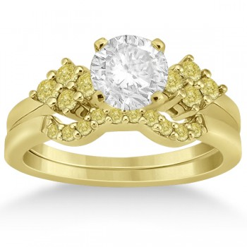 Yellow Diamond Engagement Ring & Wedding Band 18k Yellow Gold (0.34ct) This fancy colored diamond cluster engagement ring with matching contour style wedding band bridal set features 8 yellow pave set diamonds.The clusters of yellow diamonds are placed on both sides of the center stone along an 18k yellow gold band. There are 10 beautiful yellow diamonds in a pave setting on the matching contour wedding band.Each diamond is of VS2-SI1 clarity. Create your own engagement ring by choosing a center stone from our large selection of conflict-free diamonds.This 0.34ct 18k yellow gold floral engagement ring and contour wedding band bridal set is also available in other precious metals.