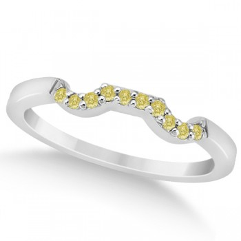 Pave Set Yellow Diamond Contour Wedding Band 14k White Gold (0.10ct) Leave her speechless with this pave set yellow diamond curve wedding band, set in 14k white gold. The band displays 10 fancy colored diamonds of yellow color and VS2-SI1 clarity. The total carat weight of the diamonds are 0.10 carats.Each round diamond is pave set in contour style along this wedding band.Coordinate this yellow diamond accent wedding band with our matching designer floral engagement ring, which is sold separately.