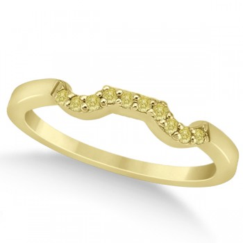 Pave Set Yellow Diamond Contour Wedding Band 14k Yellow Gold (0.10ct) Seal your commitment to one another with this pave set yellow diamond curve wedding band that is set in 14k yellow gold. The band showcases a total of 10 fancy colored diamonds of 0.10 carats.All of the round yellow diamonds of VS2-SI1 clarity are pave set along this contour style wedding band.Compliment this pave set yellow diamond curve wedding band with our matching designer floral engagement ring, which is sold separately.