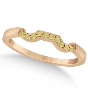 Pave Set Yellow Diamond Contour Wedding Band 18k Rose Gold (0.10ct) This exquisite pave set yellow diamond accent contour style wedding band is set in elegant 18k rose gold (pink gold). It features ten fancy colored diamonds of 0.10 carat weight and VS2-SI1 clarity.The yellow diamonds are pave set along the wedding band.Compliment this pave set yellow diamond curved wedding band with our matching designer yellow diamond floral engagement ring, which is sold separately.