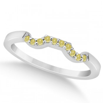 Pave Set Yellow Diamond Contour Wedding Band 18k White Gold (0.10ct) Make your wedding day special with this pave set yellow diamond curve wedding band, set in 18k white gold. Ten fancy colored diamonds of VS2-SI1 clarity are pave set along the contour style wedding band.The yellow diamonds have a 0.10 total carat weight.Compliment this wedding band with our matching designer yellow diamond floral engagement ring, which is sold separately.