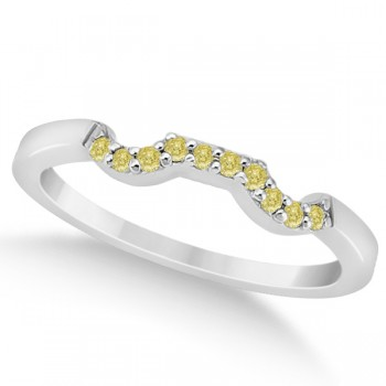 Pave Set Yellow Diamond Contour Wedding Band in Palladium (0.10ct) This pave set yellow diamond accent curve wedding band, set in palladium, features ten fancy colored diamonds of VS2-SI1 clarity and 0.10 carat weight.Each round yellow diamond is pave set along the contour style wedding band.Pair this stunning birthstone wedding band with our matching designer yellow diamond floral engagement ring, which is sold separately.This hypoallergenic palladium wedding band is also available in other precious metals.