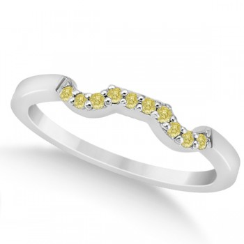 Pave Set Yellow Diamond Contour Wedding Band in Platinum (0.10ct) Tie the knot with this stunning pave set yellow diamond accent contour style wedding band, set in platinum. There are ten fancy colored diamonds that have a VS2-SI1 clarity and a carat weight of 0.10 carats.All of the yellow diamonds are delicately pave set along the band.Match this yellow diamond wedding band with our designer floral engagement ring, which is sold separately.This wedding band is also available in other precious metals.