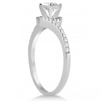 Halo Diamond Twist Engagement Ring Setting 14k White Gold (0.16ct)
