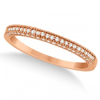 Micro Pave Milgrain Edge Diamond Wedding Ring 14k Rose Gold (0.18ct) Capture her heart with the engagement ring she's always wanted. A total of 0.18 carats from seventy brilliant cut diamonds form a beautiful pave set milgrain edge diamond wedding band.Each near-colorless diamond on this 14k rose gold (pink gold) vintage style diamond ring is of G-H color and VS2-SI1 clarity.The round diamonds are individually pave set partially along the band.This pave set wedding band goes great with our coordinating split shank diamond engagement wedding ring, which is sold separately. Can also be worn as an anniversary ring, fashion ring, or stackable ring.