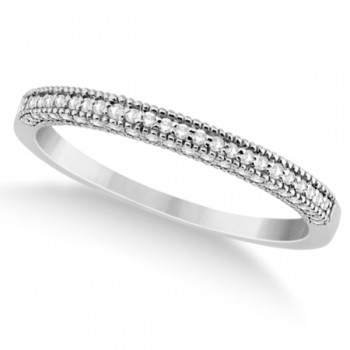 Micro Pave Milgrain Edge Diamond Wedding Ring Platinum (0.18ct) Capture her heart with the wedding band she's always wanted. A total of 0.18 carats from 70 round diamonds form a beautiful pave set milgrain edge diamond wedding band.Each dazzling diamond on this platinum vintage style ring is of G-H color and VS2-SI1 clarity.The brilliant cut diamonds are set half way in a pave milgrain setting. The milgrain edge adds a decorative beaded edge to this enchanting band.