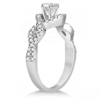 Diamond Halo Infinity Engagement Ring In 14K White Gold (0.39ct)