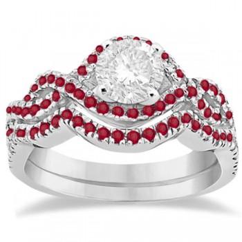 Ruby Infinity Halo Engagement Ring & Band Set 14K White Gold (0.60ct)