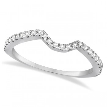 Bridal Contour Diamond Wedding Band Platinum (0.21ct) This beautiful diamond contour bridal band lays around an engagement ring as an ideal fit for a pair meant to last forever. Available with this original wedding band is the Unique Split Shank Diamond Halo Engagement Setting. Buy the unique ring setting for a unique girl, and you can choose any cut, color and carat weight of the diamond to fit her style.  This platinum diamond wedding band is made with 28 brilliant diamonds that total 0.21 carat weight. Let these diamonds shine brightly with VS2-SI1 clarity and G-H color on the love of your life's ring finger.