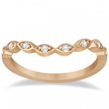 Petite Contour Floral Diamond Wedding Band 14k Rose Gold (0.12ct) Elegant in style, this 14 karat rose gold wedding band features 8 round diamonds of GH color and VS2-SI1 clarity. The near colorless diamonds are prong set and gracefully placed in a marquise design along this contour wedding ring in pink gold. This diamond wedding ring is also available in other metals.