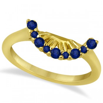 Blue Sapphire Contour Gemstone Wedding Band 18K Yellow Gold (0.40ct) Dazzle her with this beautiful 18k yellow gold wedding band featuring 0.40 carats of blue sapphire gemstones.The band features 9 blue sapphire gem stones with eye clean clarity. The sapphire stones are prong set in a contour style.Capture the full beauty of this wedding band by matching it with our blue sapphire stone engagement ring (sold separately).