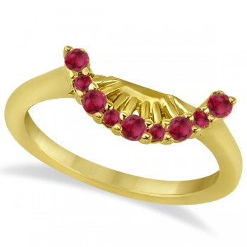Ruby Contour Gemstone Bridal Wedding Band 14K Yellow Gold (0.40ct) The ruby gems in this lovely contour wedding band add bursts of brilliance to her finger, and is the perfect way to say I love you.This unique wedding band is wonderfully crafted in 14k yellow gold and features a total of  9 dazzling bright red rubies of eye clean clarity.Each ruby gemstone on the engagement ring is individually prong set in a curved style on the wedding band.Match this band with our coordinating floral halo ruby engagement ring, sold separately.