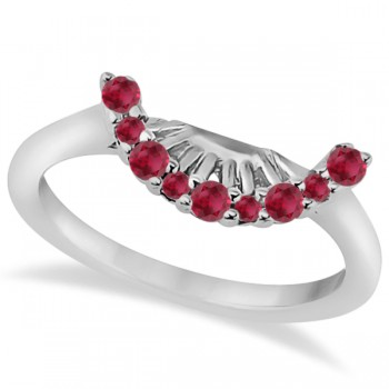 Ruby Contour Gemstone Bridal Wedding Band 18K White Gold (0.40ct) The ruby gems in this lovely contour wedding band add bursts of brilliance to her finger, and is the perfect way to say I love you.This unique wedding band is wonderfully crafted in 18k white gold and features a total of  9 ruby gemstones of eye clean clarity.Each ruby stone on the engagement ring is individually prong set in a contour style on the wedding band.Coordinate this band with our matching floral halo ruby engagement ring, which is sold separately.