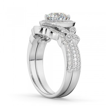 Butterfly Diamond Engagement Ring & Wedding Band 14k White Gold (0.58ct)