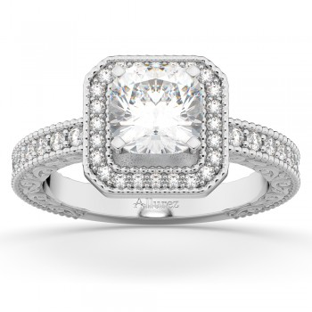 Milgrain Square Halo Diamond Engagement Ring 14kt White Gold (0.32ct.)