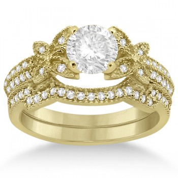 Butterfly Milgrain Diamond Ring & Wedding Band 14K Yellow Gold (0.40ct) Put a smile on her face with this butterfly milgrain diamond ring and weding ring bridal set in 14k yellow gold.The engagement ring features 36 brilliant round cut diamonds showcased on the shank in a glamorous half-eternity style. The accompanying wedding band includes 25 brilliant round cut diamonds lining the band in a glamorous contoured design. The micro pave set diamonds are of G-H color and VS2-SI1 clarity, and have an approximate total carat weight of 0.40cts.Build your own butterfly milgrain diamond engagement ring setting by selecting a center diamond from our expanding selection of conflict-free diamonds.
