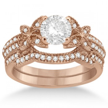 Butterfly Milgrain Diamond Ring & Wedding Band 18k Rose Gold (0.40ct) Make her feel special with this butterfly milgrain diamond ring and weding ring bridal set in 18k rose gold (pink gold).The engagement ring includes 36 near-colorless center diamonds lining the shank in a timeless double row style. The accompanying wedding band features 25 near-colorless center diamonds individually set on the shank in a timeless contoured style. The micro pave set diamonds are of G-H color and VS2-SI1 clarity, and have an approximate total carat weight of 0.40cts.Build your own butterfly milgrain diamond engagement ring setting by choosing a near-colorless center diamond from our wide selection of conflict-free diamonds.