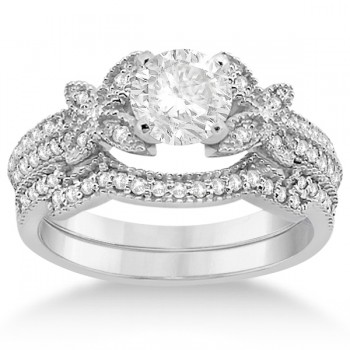 Butterfly Milgrain Diamond Ring & Wedding Band 18k White Gold (0.40ct) Make her yours forever with this butterfly milgrain diamond ring and weding ring bridal set in 18k white gold.The engagement ring features 36 round cut diamonds individually set on the band in a beautiful half-eternity style. The accompanying wedding band includes 25 near-colorless center diamonds individually set on the band in a classic curved style. The micro pave set diamonds are of G-H color and VS2-SI1 clarity, and have an approximate total carat weight of 0.40cts.Build your own butterfly milgrain diamond engagement ring setting by choosing a round cut diamond from our wide selection of conflict-free diamonds.