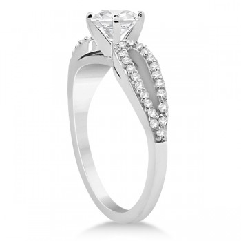 Cathedral Split Shank Diamond Engagement Ring 14K White Gold (0.23ct)