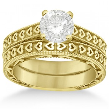 Carved Engagement Ring with Wedding Band Bridal Set in 14K Yellow Gold