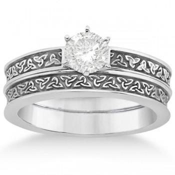 Carved Irish Celtic Engagement Ring & Wedding Band Set 14K White Gold