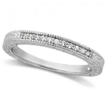 Antique Style Pave Set Wedding Ring Milgrain Band Palladium (0.30ct) This gorgeous vintage style women's ring features 10 brilliant cut VS2 G-H round diamonds elegantly set in a pave setting.  The ring features milgrain edges and a filigree design for the ultimate designer's touch.  Wear it as a wedding band, as an anniversary ring, or as a right hand fashion ring.  The ring measures 3.25mm tapering off to 2.8mm.