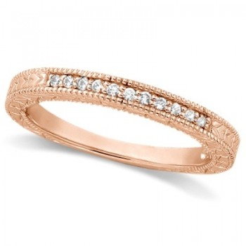 Antique Style Pave Set Wedding Ring Band 14k Rose Gold (0.30ct) This gorgeous vintage style women's ring features 10 brilliant cut VS2 G-H round diamonds elegantly set in a pave setting.  The ring features milgrain edges and a filigree design for the ultimate designer's touch.  Wear it as a wedding band, as an anniversary ring, or as a right hand fashion ring.  The ring measures 3.25mm tapering off to 2.8mm.