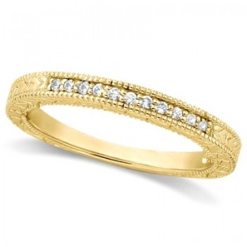Antique Style Pave Set Wedding Ring Band 14k Yellow Gold (0.30ct) This gorgeous vintage style women's ring features 10 brilliant cut VS2 G-H round diamonds elegantly set in a pave setting.  The ring features milgrain edges and a filigree design for the ultimate designer's touch.  Wear it as a wedding band, as an anniversary ring, or as a right hand fashion ring.  The ring measures 3.25mm tapering off to 2.8mm.
