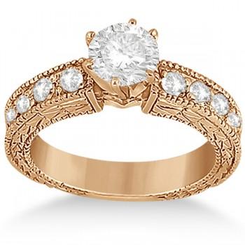 0.70ct Antique Style Diamond Engagement Ring Setting 18k Rose Gold