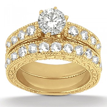 Antique Diamond Engagement Ring & Wedding Band 14k Yellow Gold (1.70ct) A total of 23 large brilliant-cut round sparkling diamonds are beautifully set in a pave setting in this vintage style bridal set. The engagement ring setting showcases a total of 1.00ct of diamonds and the wedding band showcases  a total of 0.70ct.  The antique scroll work and the milgrain edges add the ultimate designer's touch to these rings.  Choose your own center stone to perfectly customize this matching engagement ring and matching wedding band.