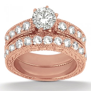 Antique Diamond Engagement Ring & Wedding Band 18k Rose Gold (1.70ct) A total of 23 large brilliant-cut round sparkling diamonds are beautifully set in a pave setting in this vintage style bridal set. The engagement ring setting showcases a total of 1.00ct of diamonds and the wedding band showcases  a total of 0.70ct.  The antique scroll work and the milgrain edges add the ultimate designer's touch to these rings.  Choose your own center stone to perfectly customize this matching engagement ring and matching wedding band.