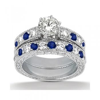 Antique Diamond & Blue Sapphire Bridal Set 14k White Gold (1.80ct)