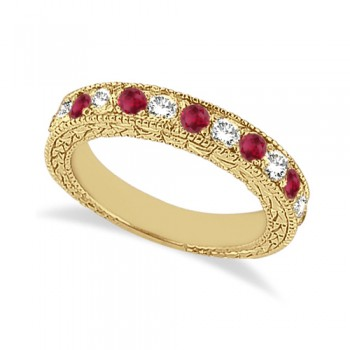 Antique Diamond & Ruby Wedding Ring 14kt Yellow Gold (1.05ct) This semi eternity vintage style ruby and diamond wedding ring features 7 brilliant cut VS2 G-H round diamonds alternating with 6 colored gemstones.The 14kt Yellow Gold Ruby ring has milgrain edges and a filigree design for the ultimate designer's touch.Wear it as a wedding band, as an anniversary ring, or as a right hand fashion ring.The heirloom ruby wedding band measures 4.20mm tapering off to 3.95mm and is set in a pave setting.