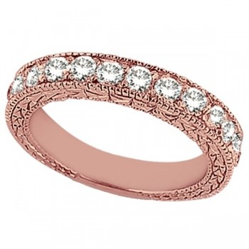 Antique Style Pave Set Wedding Ring Band 14k Rose Gold (1.00ct) This gorgeous semi eternity vintage style women's ring features 13 brilliant cut VS2 G-H round diamonds elegantly set in a pave setting.  The ring features milgrain edges and a filigree design for the ultimate designer's touch.  Wear it as a wedding band, as an anniversary ring, or as a right hand fashion ring.  The ring measures 4.20mm tapering off to 3.95mm.