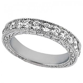 Antique Style Pave Set Wedding Ring Band 14k White Gold (1.00ct) This gorgeous semi eternity vintage style women's ring features 13 brilliant cut VS2 G-H round diamonds elegantly set in a pave setting.  The ring features milgrain edges and a filigree design for the ultimate designer's touch.  Wear it as a wedding band, as an anniversary ring, or as a right hand fashion ring.  The ring measures 4.20mm tapering off to 3.95mm.