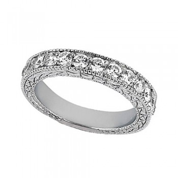 Antique Style Pave Set Wedding Ring Band 18k White Gold (1.00ct) This gorgeous semi eternity vintage style women's ring features 13 brilliant cut VS2 G-H round diamonds elegantly set in a pave setting.  The ring features milgrain edges and a filigree design for the ultimate designer's touch.  Wear it as a wedding band, as an anniversary ring, or as a right hand fashion ring.  The ring measures 4.20mm tapering off to 3.95mm.