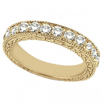 Antique Style Pave Set Wedding Ring Band 18k Yellow Gold (1.00ct) This gorgeous semi eternity vintage style women's ring features 13 brilliant cut VS2 G-H round diamonds elegantly set in a pave setting.  The ring features milgrain edges and a filigree design for the ultimate designer's touch.  Wear it as a wedding band, as an anniversary ring, or as a right hand fashion ring.  The ring measures 4.20mm tapering off to 3.95mm.
