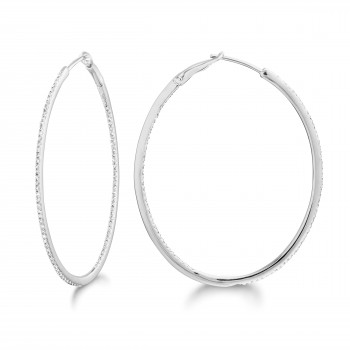 Diamond 42mm Oval Skinny Hoop Earrings 14K White Gold (0.48CT) Marvelously designed in 14K Gold and Diamond Round Thin Hoops Fashion Earrings to give off a striking air without compromising a clean look. A generous amount if precisely placed white diamonds, this new take in the classic petite oval hoop earring.  It's a perfect accessory for intimate occassions like Anniversary, Christmas, and New Year or just casual family dinners. This fine piece of jewlery also makes an ideal Graduation and Mother's day present. The diamonds in this earring set are in GH color SI1-SI2 clarity.