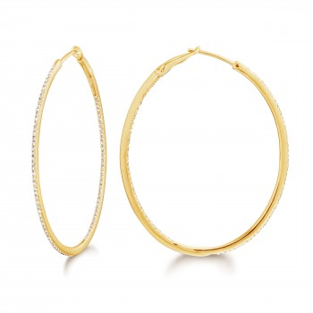 Diamond 42mm Oval Skinny Hoop Earrings 14K Yellow Gold (0.48CT) Marvelously designed in 14K Gold and Diamond Round Thin Hoops Fashion Earrings to give off a striking air without compromising a clean look. A generous amount if precisely placed white diamonds, this new take in the classic petite oval hoop earring.  It's a perfect accessory for intimate occassions like Anniversary, Christmas, and New Year or just casual family dinners. This fine piece of jewlery also makes an ideal Graduation and Mother's day present. The diamonds in this earring set are in GH color SI1-SI2 clarity.