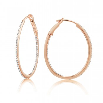 Diamond 28mm Oval Skinny Hoop Earrings 14K Rose Gold (0.34CT) Marvelously designed in 14K Gold and Diamond Round Thin Hoops Fashion Earrings to give off a striking air without compromising a clean look. A generous amount if precisely placed white diamonds, this new take in the classic petite oval hoop earring.  It's a perfect accessory for intimate occassions like Anniversary, Christmas, and New Year or just casual family dinners. This fine piece of jewlery also makes an ideal Graduation and Mother's day present. The diamonds in this earring set are in GH color SI1-SI2 clarity.
