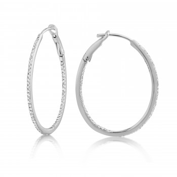Diamond 28mm Oval Skinny Hoop Earrings 14K White Gold (0.34CT) Marvelously designed in 14K Gold and Diamond Round Thin Hoops Fashion Earrings to give off a striking air without compromising a clean look. A generous amount if precisely placed white diamonds, this new take in the classic petite oval hoop earring.  It's a perfect accessory for intimate occassions like Anniversary, Christmas, and New Year or just casual family dinners. This fine piece of jewlery also makes an ideal Graduation and Mother's day present. The diamonds in this earring set are in GH color SI1-SI2 clarity.