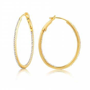 Diamond 28mm Oval Skinny Hoop Earrings 14K Yellow Gold (0.34CT) Marvelously designed in 14K Gold and Diamond Round Thin Hoops Fashion Earrings to give off a striking air without compromising a clean look. A generous amount if precisely placed white diamonds, this new take in the classic petite oval hoop earring.  It's a perfect accessory for intimate occassions like Anniversary, Christmas, and New Year or just casual family dinners. This fine piece of jewlery also makes an ideal Graduation and Mother's day present. The diamonds in this earring set are in GH color SI1-SI2 clarity.