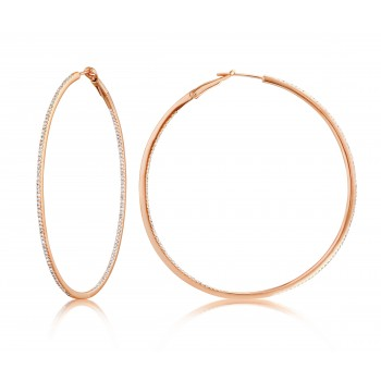 Diamond 53mm Round Skinny Hoop Earrings 14K Rose Gold (0.60CT) Marvelously designed in 14K Gold and Diamond Round Thin Hoops Fashion Earrings to give off a striking air without compromising a clean look. A generous amount if precisely placed white diamonds, this new take in the classic petite round hoop earring.  It's a perfect accessory for intimate occassions like Anniversary, Christmas, and New Year or just casual family dinners. This fine piece of jewlery also makes an ideal Graduation and Mother's day present. The diamonds in this earring set are in GH color SI1-SI2 clarity.
