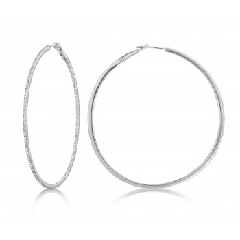 Diamond 53mm Round Skinny Hoop Earrings 14K White Gold (0.60CT) Marvelously designed in 14K Gold and Diamond Round Thin Hoops Fashion Earrings to give off a striking air without compromising a clean look. A generous amount if precisely placed white diamonds, this new take in the classic petite round hoop earring.  It's a perfect accessory for intimate occassions like Anniversary, Christmas, and New Year or just casual family dinners. This fine piece of jewlery also makes an ideal Graduation and Mother's day present. The diamonds in this earring set are in GH color SI1-SI2 clarity.