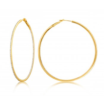 Diamond 53mm Round Skinny Hoop Earrings 14K Yellow Gold (0.60CT) Marvelously designed in 14K Gold and Diamond Round Thin Hoops Fashion Earrings to give off a striking air without compromising a clean look. A generous amount if precisely placed white diamonds, this new take in the classic petite round hoop earring.  It's a perfect accessory for intimate occassions like Anniversary, Christmas, and New Year or just casual family dinners. This fine piece of jewlery also makes an ideal Graduation and Mother's day present. The diamonds in this earring set are in GH color SI1-SI2 clarity.